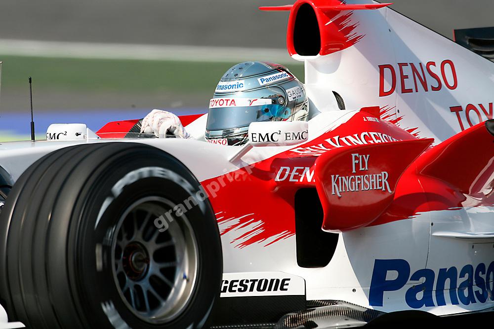 Close-up of Jarno Trulli (Toyota) in practice for the 2007 Spanish Grand Prix at the Circuit de Catalunya outside Barcelona. Photo: Grand Prix Photo