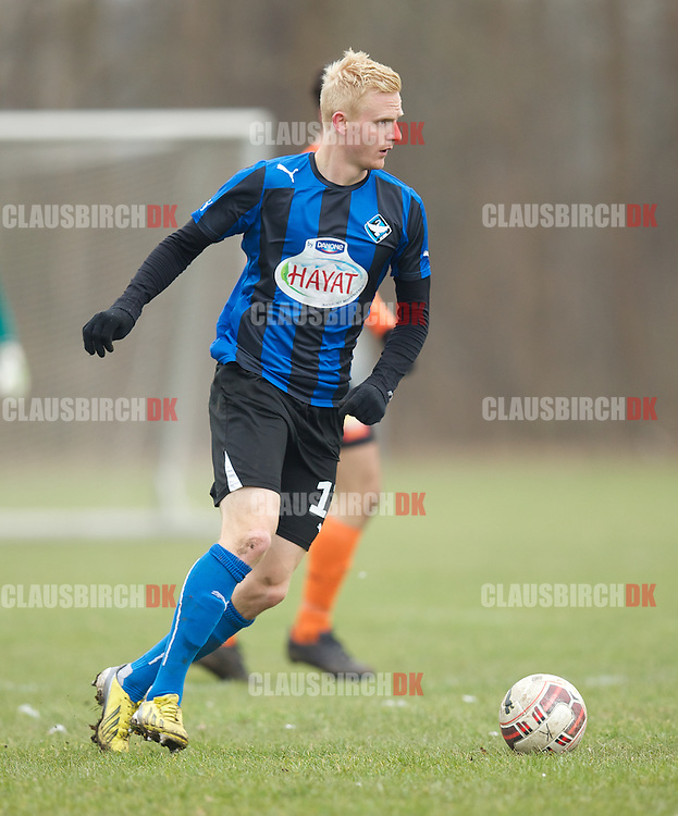 Jonas Thomsen (HB Køge) under træningskampen mellem HB Køge og FC Helsingør den 7. marts 2015 i Køge. Foto: Claus Birch