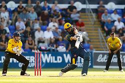 Glamorgan's Craig Meschede dispatches the ball to the boundary<br /> <br /> Photographer Simon King/Replay Images<br /> <br /> Vitality Blast T20 - Round 8 - Glamorgan v Gloucestershire - Friday 3rd August 2018 - Sophia Gardens - Cardiff<br /> <br /> World Copyright © Replay Images . All rights reserved. info@replayimages.co.uk - http://replayimages.co.uk