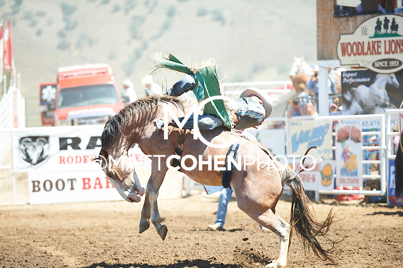 Bareback rider Buck Lunak of Cut Bank, MT rides Nest Egg at the Woodlake Lions Rodeo.<br /> <br /> <br /> UNEDITED LOW-RES PREVIEW<br /> <br /> <br /> File shown may be an unedited low resolution version used as a proof only. All prints are 100% guaranteed for quality. Sizes 8x10+ come with a version for personal social media. I am currently not selling downloads for commercial/brand use.