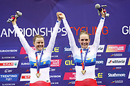 Podium, Women Madison, Amalie Dideriksen - Julie Leth (Denmark) gold medal, during the Track Cycling European Championships Glasgow 2018, at Sir Chris Hoy Velodrome, in Glasgow, Great Britain, Day 6, on August 7, 2018 - Photo luca Bettini / BettiniPhoto / ProSportsImages / DPPI<br /> - Restriction / Netherlands out, Belgium out, Spain out, Italy out -