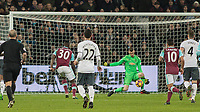 Football - 2016 / 2017 Premier League - West Ham United vs. Manchester United<br /> <br /> David De Gea of Manchester United saves from Michail Antonio of West Ham at The London Stadium.<br /> <br /> COLORSPORT/DANIEL BEARHAM