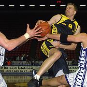 Turkish Mans  Basketball Play Off half tour First match Efes Pilsen between Oyak Renault match players Kambala(L) with Rasim BASAK(C) Kerem TUNCERI(R) during their Abdi Ipekci Sport Hall ISTANBUL at TURKEY.  <br /> Photo by AYKUT AKICI/TurkSporFoto