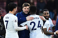 Tottenham Hotspur manager Mauricio Pochettino hugs Serge Aurier (24) of Tottenham Hotspur in celebration at full time after a 4-1 win over Bournemouth during the Premier League match between Bournemouth and Tottenham Hotspur at the Vitality Stadium, Bournemouth, England on 11 March 2018. Picture by Graham Hunt.