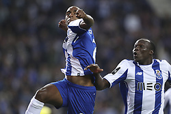 October 21, 2017 - Porto, Porto, Portugal - Porto's Portuguese defender Ricardo Pereira (l) celebrates after scoring goal with teammate Porto's Cameroonian forward Vincent Aboubakar (R) during the Premier League 2017/18 match between FC Porto and FC Pacos de Ferreira, at Dragao Stadium in Porto on October 21, 2017. (Credit Image: © Dpi/NurPhoto via ZUMA Press)