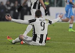 February 28, 2017 - Turin, Italy - Gonzalo Higuain during Tim Cup 2016/2017 match between Juventus v Napoli, in Turin, on February 28, 2017  (Credit Image: © Loris Roselli/NurPhoto via ZUMA Press)