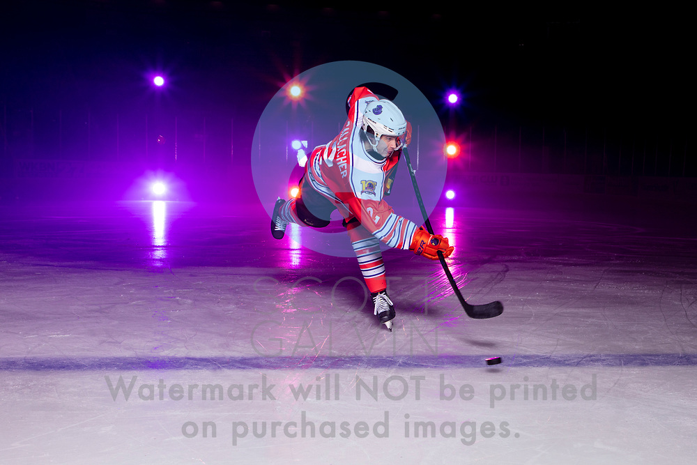 Youngstown Phantoms player photo shoot on January 6, 2020.<br /> <br /> Aiden Gallacher, defenseman, 2