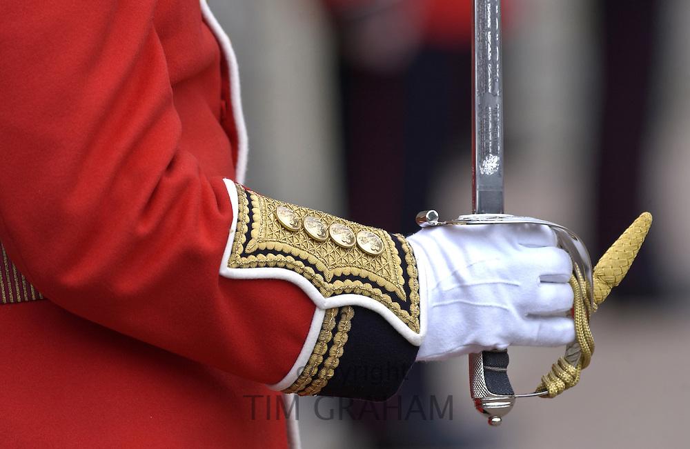 Guardsman holding ceremonial sword during parade, England, UK