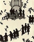 Johannes Brahms (1833-1897), German composer. Brahms, bottom left, being welcomed into Heaven by Schumann, Bruckner, Mendelssohn, Schubert, Liszt, von Bulow, and Berlioz. Top row, left to right: Haydn, Weber, Wagner, Bach, Beethoven, Mozart, Gluck and Handel(?). Silhouette by Otto Bohler. Halftone.
