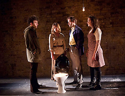 The Angry Brigade <br /> by James Graham <br /> at The Bush Theatre, London, Great Britain <br /> press photocall <br /> 5th May 2015 <br /> <br /> A Paines Plough and Theatre Royal Plymouth production<br /> <br /> Harry Melling<br /> Mark Arends<br /> Pearl Chanda<br /> Lizzy Watts<br /> <br /> Photograph by Elliott Franks <br /> Image licensed to Elliott Franks Photography Services