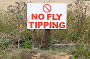 No Fly Tipping sign, Suffolk, England, UK