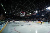 KELOWNA, CANADA - OCTOBER 11: The Lethbridge Hurricanes visit the Kelowna Rockets on October 11, 2014 at Prospera Place in Kelowna, British Columbia, Canada.   (Photo by Marissa Baecker/Shoot the Breeze)  *** Local Caption *** Ice; anthem; arena; fans;