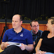 Quentin Stockwell(center)  discusses lighting options with Drika Overton (R0. David Wynen (L)