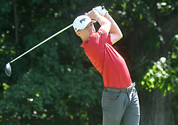 July 13, 2018 - Silvis, Illinois, U.S. - SILVIS, IL - JULY 13:  Mackenzie Hughes hits his tee shot on the #2 hole during the second round of the John Deere Classic on July 13, 2018, at TPC Deere Run, Silvis, IL.  (Photo by Keith Gillett/Icon Sportswire) (Credit Image: © Keith Gillett/Icon SMI via ZUMA Press)