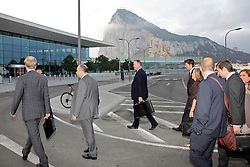 © Licensed to London News Pictures. 25/09/2013. Gibraltar, UK. EU Inspectors arrived at the Gibraltar border this morning in order to probe claims of harassment by Spain over its border checks. Photo credit : Donovan Torres/LNP