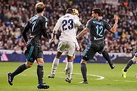 Real Madrid's Danilo Luiz Da Silva and Real Sociedad's Juanmi Jimenez and Willian Jose da Silva during La Liga match between Real Madrid and Real Sociedad at Santiago Bernabeu Stadium in Madrid, Spain. January 29, 2017. (ALTERPHOTOS/BorjaB.Hojas)
