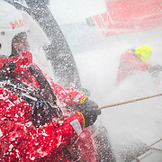 Leg 9, from Newport to Cardiff, day 06 on board MAPFRE, speed record day. Blait Tuke with the main sheet, Xabi Fernandez at the aft pedestal. 25 May, 2018.