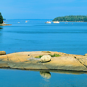 Small island in Stonington Harbor. Stonington Maine.