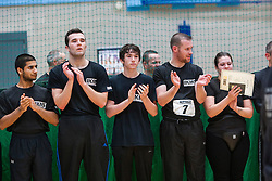 P1 students wait at the end. Franklyn Hartkamp takes the Institute Of Krav Maga Scotland grading today at Stirling.<br /> ©Michael Schofield.