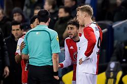 (L-R) referee Dennis Higler, Bilal Basacikoglu of Feyenoord, Nicolai Jorgensen of Feyenoord during the Dutch Eredivisie match between Vitesse Arnhem and Feyenoord Rotterdam at Gelredome on February 11, 2018 in Arnhem, The Netherlands