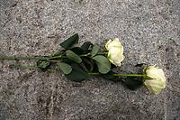 Jedwabne, woj podlaskie, 10.07.2019. Obchody 78. rocznicy mordu na Zydach w Jedwabnem . 10 lipca 1941 roku z rak polskich sasiadow zginelo co najmniej 340 osob narodowosci zydowskiej , ktore zostaly zywcem spalone w stodole . W 2001 r zostal odsloniety pomnik , przy ktorym co roku odbywaja sie uroczystosci upamietniajace te zbrodnie. W tegorocznych obchodach, oprocz przedstawicieli spolecznosci zydowskiej, wzieli udzial rowniez politycy SLD N/z roze od Obywateli RP fot Michal Kosc / AGENCJA WSCHOD