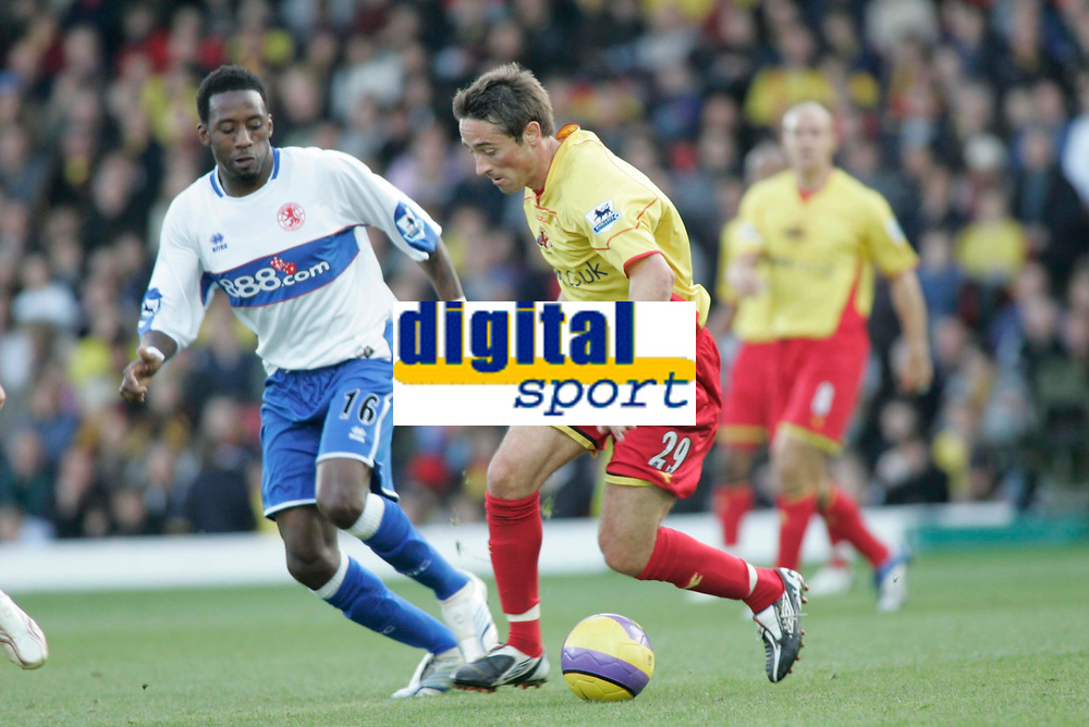 Photo: Marc Atkins.<br /> <br /> Watford v Middlesbrough. The Barclays Premiership. 04/11/2006. Tommy Smith (R) of Watford & Jason Euell of Boro in action.