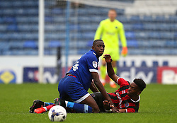 Freddie Ladapo of Oldham Athletic collides with Ivan Toney of Shrewsbury Town  - Mandatory by-line: Matt McNulty/JMP - 03/09/2016 - FOOTBALL - Sportsdirect.com Park - Oldham, England - Oldham Athletic v Shrewsbury Town - Sky Bet League One