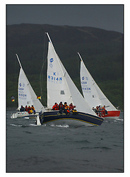 The second days racing at the Bell Lawrie Yachting Series in Tarbert Loch Fyne ...Strong winds, high seas and heavy rain dominated the day..National Sonata Class  GBR8192N Random FFD, GBR8145 Scuples, GBR8314N Saraband....FAO Magazine Edit..All images incur reproduction cost..Mandatory Credit Copyright :.Marc Turner / PFM Pictures