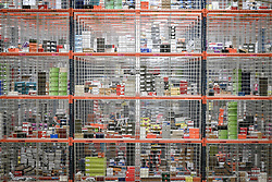 Embargoed to 0001 Friday November 16 Racking containing thousands of items at Amazon's fulfillment centre in Swansea, in the run up to Black Friday.