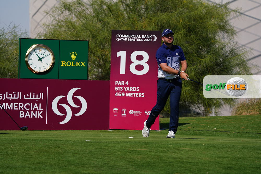 Jordan Smith (ENG) on the 18th during Round 1 of the Commercial Bank Qatar Masters 2020 at the Education City Golf Club, Doha, Qatar . 05/03/2020<br /> Picture: Golffile | Thos Caffrey<br /> <br /> <br /> All photo usage must carry mandatory copyright credit (© Golffile | Thos Caffrey)