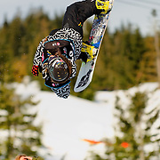 New Zealand National Snowboard Team member James Hamilton competes during qualifying at the 2009 LG Snowboard FIS World Cup at Cypress Mountain, British Columbia, on February 16th, 2009. Hamilton finished 28th in a field of 70.