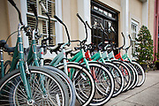 View of the bicycles in front of the Vendue Hotel and Vendue Range in Charleston, SC.