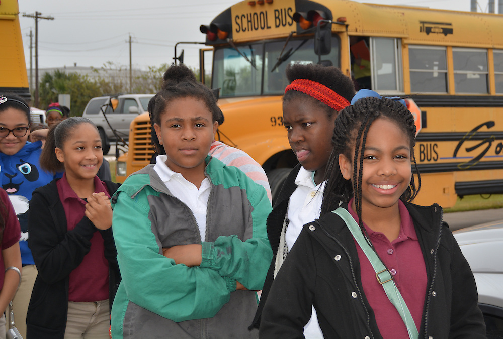 Woodson MS sixth-graders arrive at Texas A&M Galveston for a field trip.