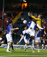 Photo: Paul Greenwood/Sportsbeat Images.<br />Blackburn Rovers v Arsenal. Carling Cup, Quarter Final. 18/12/2007.<br />Arsenal goal keeper Lukasz Fabianski punches the ball clear in a crowded penalty area