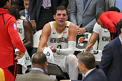 October 23, 2018 - New Orleans, LA, U.S. - NEW ORLEANS, LA - OCTOBER 23:  New Orleans Pelicans forward Nikola Mirotic (3) on the bench on a time out against New Orleans Pelicans on October 23, 2018, at Smoothie King Center in New Orleans, LA. (Photo by Stephen Lew/Icon Sportswire) (Credit Image: © Stephen Lew/Icon SMI via ZUMA Press)
