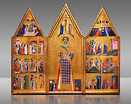 Gothic painted Panel Altarpiece of Saint Vincent by  Master of Estopanya. Tempera and gold leaf on wood. Circa 1350-1370. 199 x 255 x 10 cm. Comes from Estopanyà (Baixa Ribagorça, Huesca).. National Museum of Catalan Art, Barcelona, Spain, inv no: 003940-CJT .<br /> <br /> If you prefer you can also buy from our ALAMY PHOTO LIBRARY  Collection visit : https://www.alamy.com/portfolio/paul-williams-funkystock/romanesque-art-antiquities.html<br /> Type -     MNAC     - into the LOWER SEARCH WITHIN GALLERY box. Refine search by adding background colour, place, subject etc<br /> <br /> Visit our ROMANESQUE ART PHOTO COLLECTION for more   photos  to download or buy as prints https://funkystock.photoshelter.com/gallery-collection/Medieval-Romanesque-Art-Antiquities-Historic-Sites-Pictures-Images-of/C0000uYGQT94tY_Y