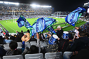 Blues fans wave flags in the stands. <br /> Blues v Highlanders, Sky Super Rugby Trans-Tasman Final. Eden Park, Auckland. New Zealand. Saturday 19 June 2021. © Copyright Photo: Andrew Cornaga / www.photosport.nz