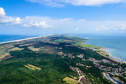 Nederland, Friesland, Terschelling, 05-08-2014;  overzicht van het eiland in oostelijke richting. Rechts Waddenzee en het dorp West-Terschelling., links de Noordzee.<br /> Wadden island Terschelling.<br /> luchtfoto (toeslag op standard tarieven);<br /> aerial photo (additional fee required);<br /> copyright foto/photo Siebe Swart