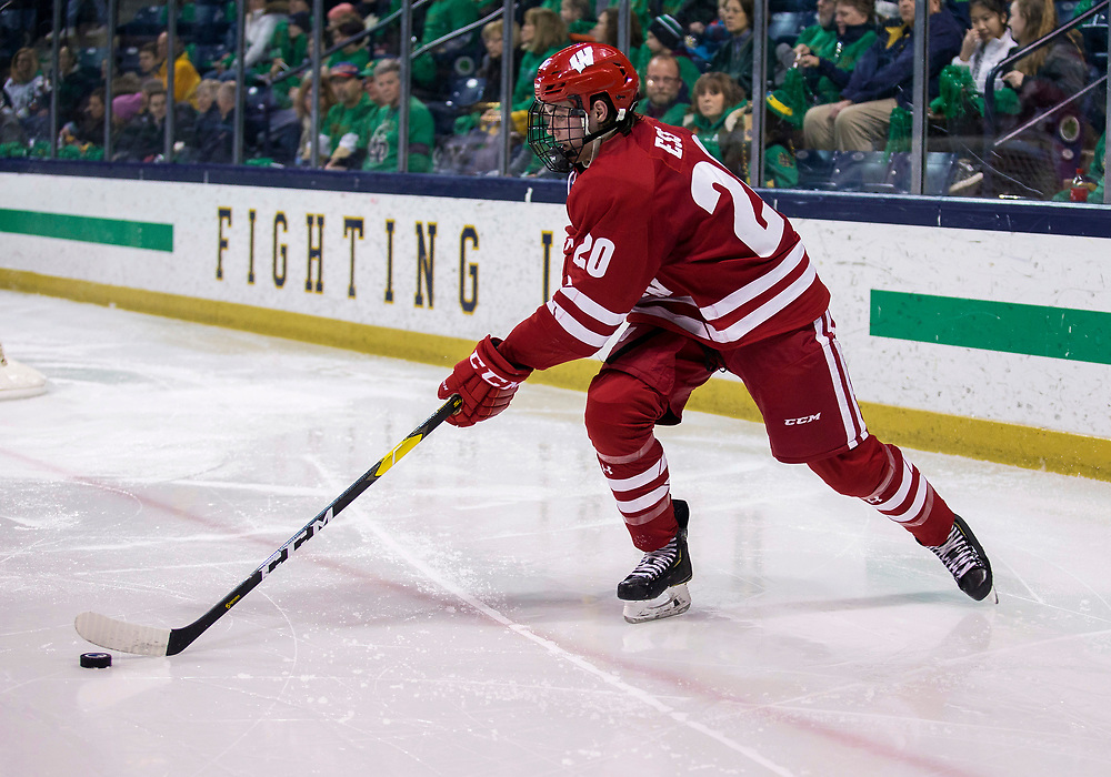 February 15, 2019:  Wisconsin defenseman Josh Ess (20) skates with the puck during NCAA Hockey game action between the Wisconsin Badgers and the Notre Dame Fighting Irish at Compton Family Ice Arena in South Bend, Indiana.  Wisconsin defeated Notre Dame 2-1.  John Mersits/CSM