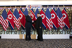February 27, 2019 - Hanoi, Vietnam - U.S President Donald Trump and North Korean leader Kim Jong Un greet prior to a bilateral meeting at the Sofitel Legend Metropole hotel February 27, 2019 in Hanoi, Vietnam. (Credit Image: © Shealah Craighead via ZUMA Wire)