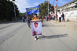 July 13, 2017 - Kathmandu, NE, Nepal - Nepalese students hold the banner portrait of Bhanubhakta, The First Poet of Nepal during 204th birth anniversary celebration at Kathmandu, Nepal on Thursday, July 13, 2017. Bhanubhakta, The First Poet of Nepal translated the great epic Ramayan from Sanskrit to Nepali Language. (Credit Image: © Narayan Maharjan/NurPhoto via ZUMA Press)