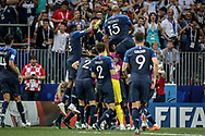 France players celebrate after the Kylian Mbappe's goal during the 2018 FIFA World Cup Russia, final football match between France and Croatia on July 15, 2018 at Luzhniki Stadium in Moscow, Russia - Photo Thiago Bernardes / FramePhoto / ProSportsImages / DPPI