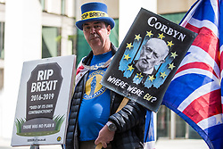 London, UK. 30th April 2019. Steve Bray of SODEM (Stand of Defiance European Movement) protests outside Labour Party HQ as Labour Party NEC members arrive for a meeting to confirm plans for Labour's EU election manifesto, including its stance with regard to a second referendum.