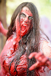 October 29, 2016 - Sydney, NSW, Australia - Participants dressed as zombies pose during the Sydney Zombie Walk on October 29, 2016 in Sydney, Australia. Hundreds of people gathered today dressed as zombies for the 6th edition of the Sydney Zombie Walk in support of 'The Brain Foundation' (Credit Image: © Hugh Peterswald/Pacific Press via ZUMA Wire)