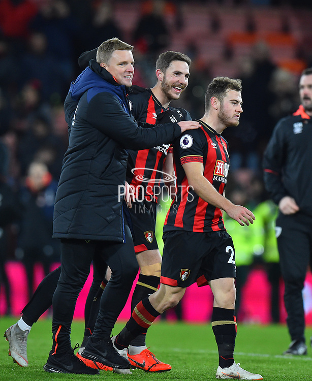 AFC Bournemouth manager Eddie Howe celebrates the 4-0 win over Chelsea with Dan Gosling (4) of AFC Bournemouth and Ryan Fraser (24) of AFC Bournemouth at full time during the Premier League match between Bournemouth and Chelsea at the Vitality Stadium, Bournemouth, England on 30 January 2019.