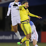 Carli Lloyd, (left), USA, is challenged by Isabella Echeverri, Colombia, during the USA Vs Colombia, Women's International friendly football match at the Pratt & Whitney Stadium, East Hartford, Connecticut, USA. 6th April 2016. Photo Tim Clayton