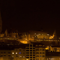 Cityscape showing Mathias Church during the Earth Hour blackout in Budapest, Hungary on March 31, 2012. ATTILA VOLGYI