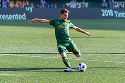 October 21, 2018 - Portland, OR, U.S. - PORTLAND, OR - OCTOBER 21, 2018: Portland Timbers midfielder Sebastián Blanco takes a sthot to score the third and final goal of the Portland Timbers 3-0 victory over Real Salt lake on October 21, 2018, at Providence Park in Portland, Oregon. (Photo by Diego Diaz/Icon Sportswire) (Credit Image: © Diego Diaz/Icon SMI via ZUMA Press)