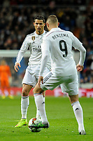Real Madrid´s Karim Benzema and Cristiano Ronaldo during 2014-15 La Liga match between Real Madrid and Levante UD at Santiago Bernabeu stadium in Madrid, Spain. March 15, 2015. (ALTERPHOTOS/Luis Fernandez)