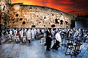 Digitally enhanced image of the Wailing Wall, Old City, Jerusalem, Israel